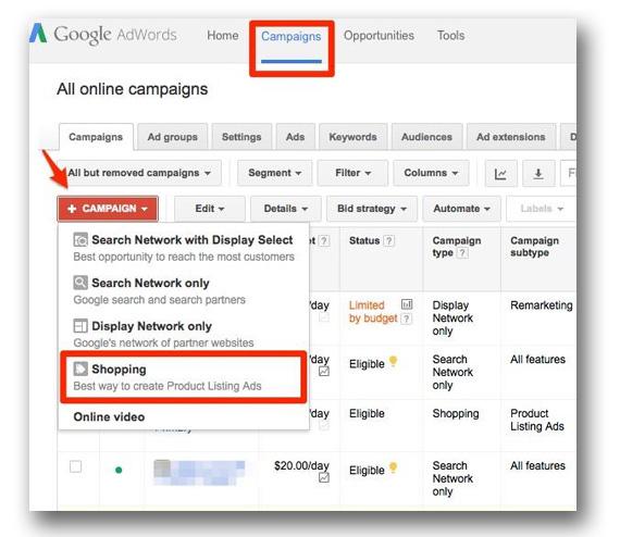 tạo chiến dịch mới cho google adword