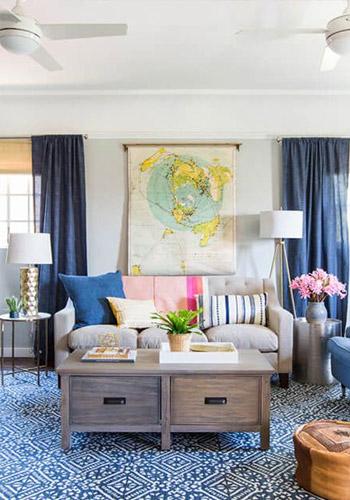 kết hợp sắc xanh và xám trong thiết kế
