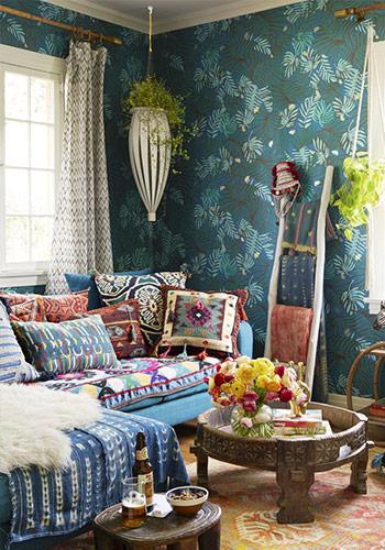 sử dụng hoa văn trang trí cho phòng khách