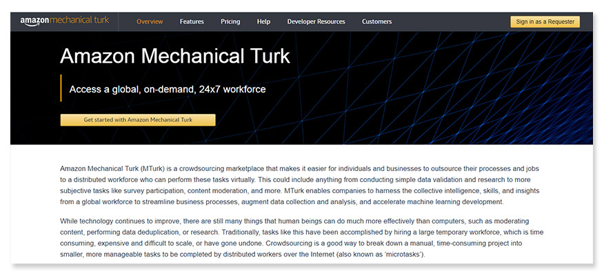 freelancer website Mechanical Turk