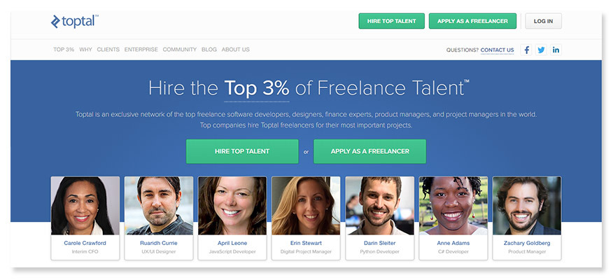 freelancer website Toptal