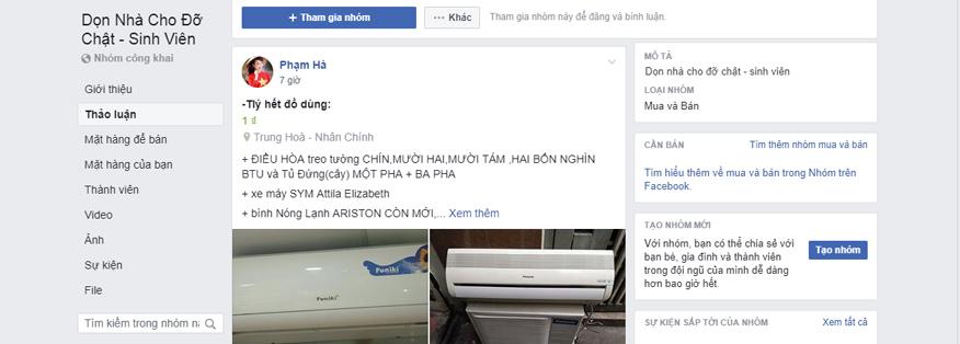 group facebook bán hàng thanh lý