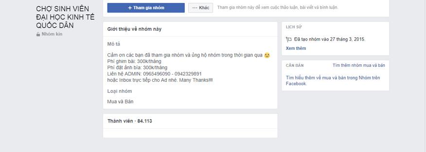 group facebook chợ sinh viên