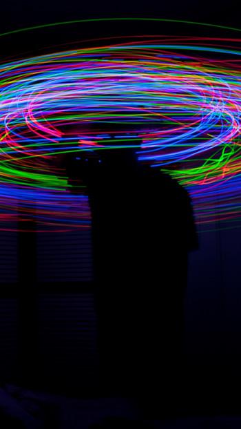Hình ảnh nền 3D vòng tròn neon