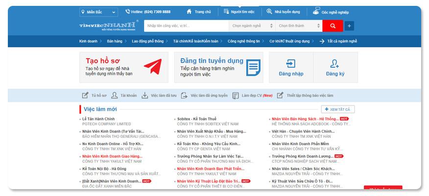 website tuyển dụng timviecnhanh