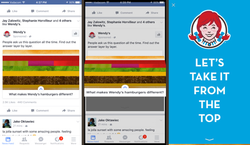 quảng cáo facebook canvas tạo bởi webdys
