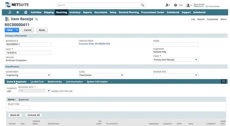 Phần mềm quản lý hàng kho NetSuite