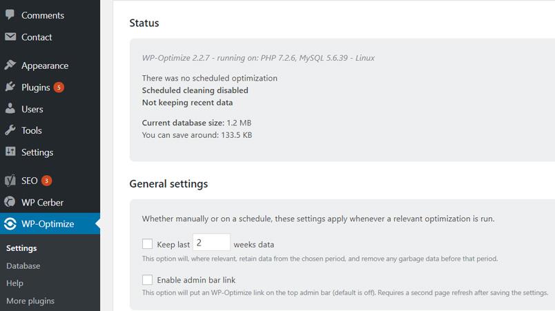 tối ưu cơ sở dữ liệu bằng WP Optimize