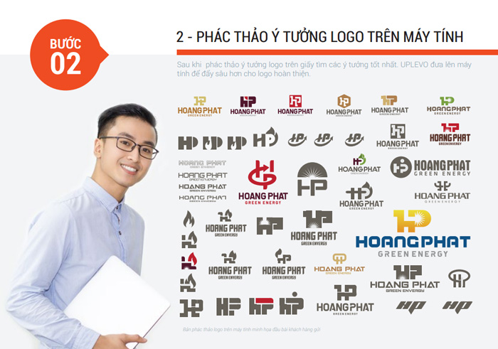 bước 2 phác thảo ý tưởng logo trên máy tính