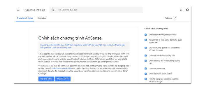 chính sách chương trình adsense của Google