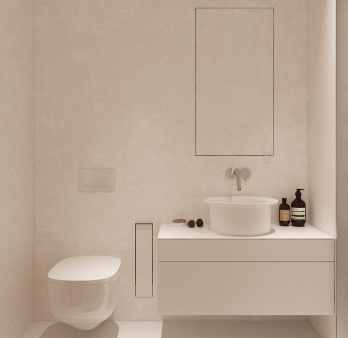 chọn lựa màu trắng cho nhà tắm đẹp tối giản