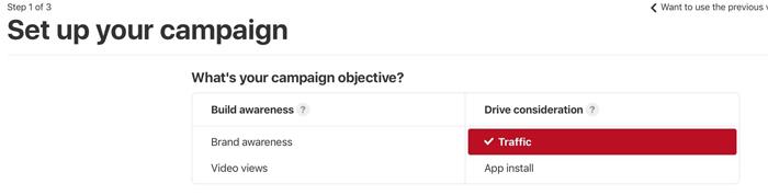chọn mục tiêu cho chiến dịch quảng cáo Pinterest