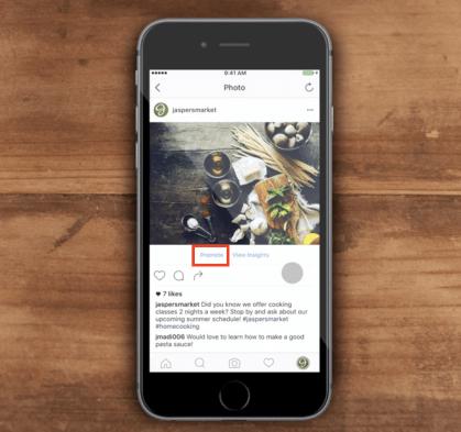 click vào promote Instagram