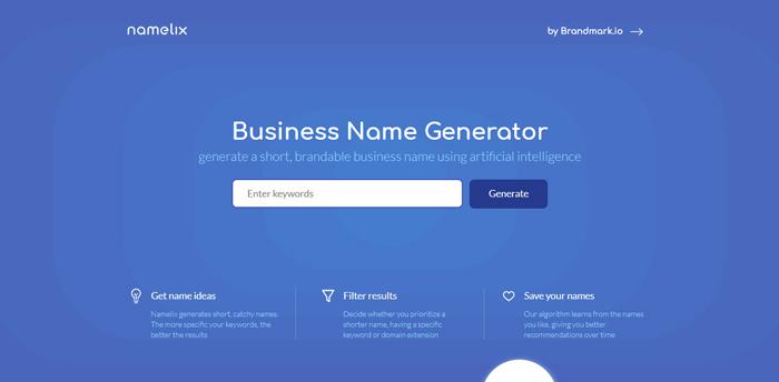 công cụ đặt tên thương hiệu namelix