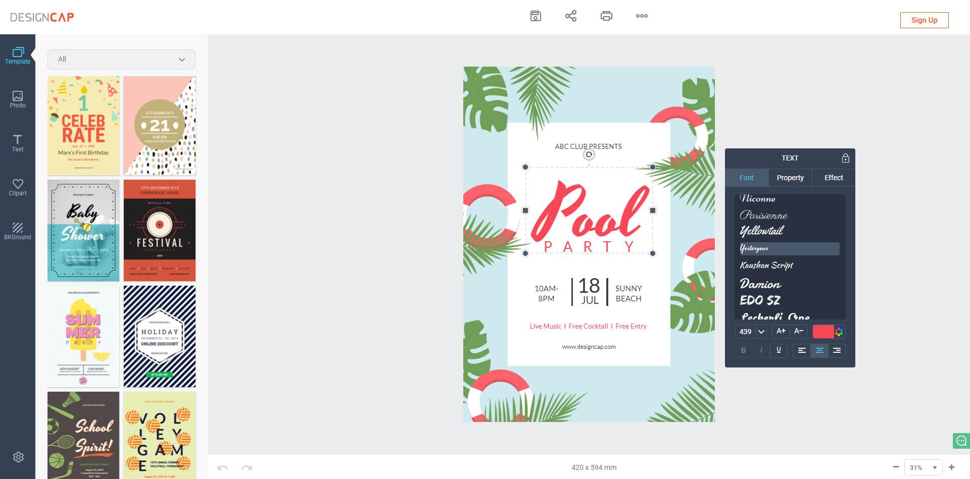 công cụ thiết kế poster designcap