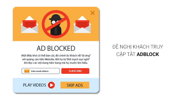 đề nghị khách truy cập tắt adblock