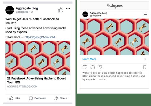 định dạng quảng cáo trên mobile và trên app instagram