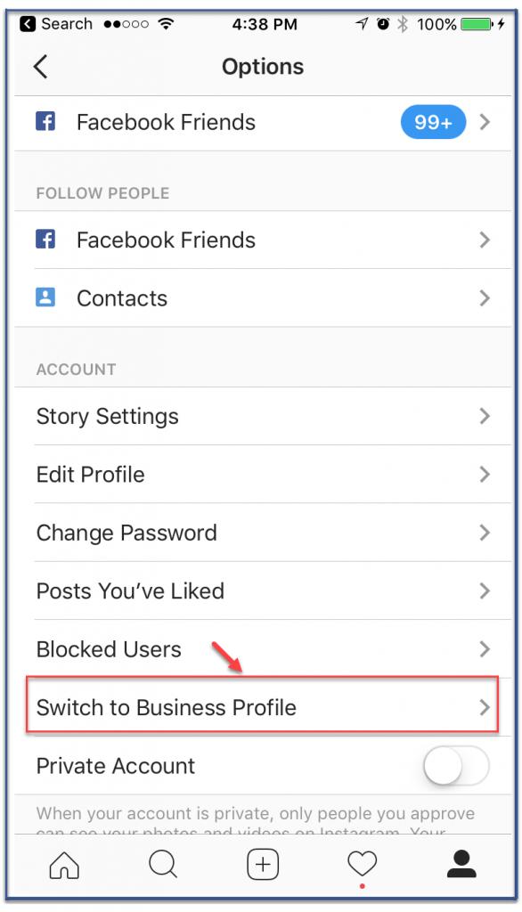 đối tài khoản Instagram sang doanh nghiệp