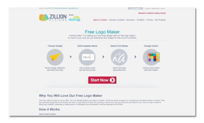 làm và tạo logo online miễn phí zillion designs