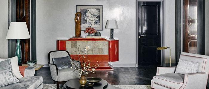 màu sắc nghệ thuật cổ điển trong phòng khách tại Chicago