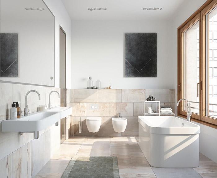 một không gian nhà tắm ngập tràn ánh nắng