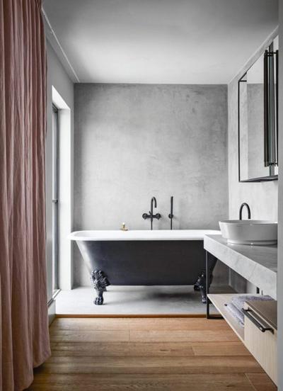 nhà tắm chất liệu bê tông