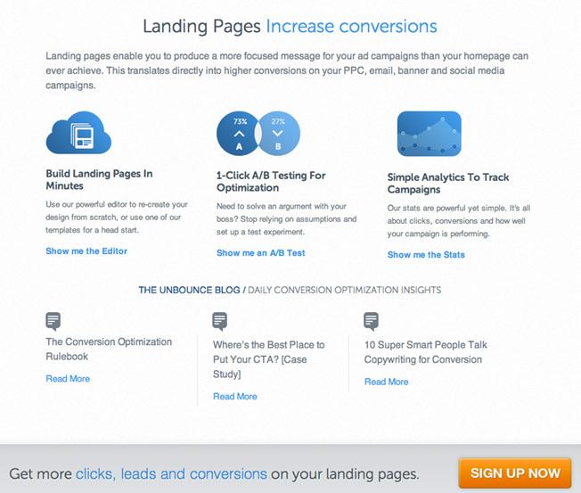 những đặc điểm nổi bật của landing page