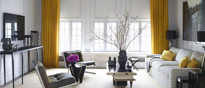 nội thất phòng khách căn penthouse tại Chicago