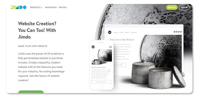phần mềm làm và tạo website Jimdo