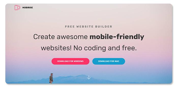 phần mềm làm và tạo website Mobirise