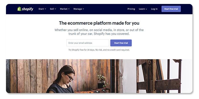 phần mềm làm và tạo website Shopify