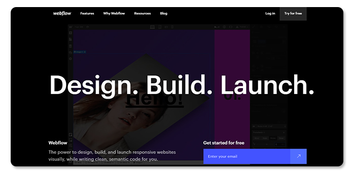 phần mềm làm và tạo website Webflow