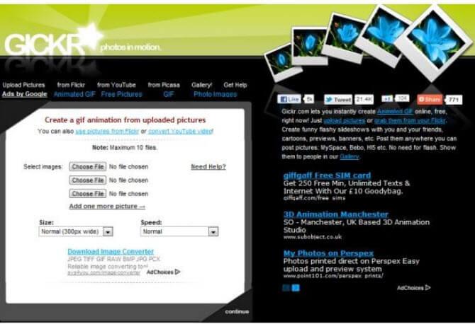 phần mềm tạo ảnh GIF Gickr