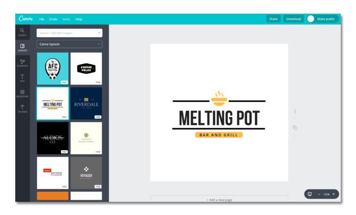 phần mềm thiết kế logo online canva
