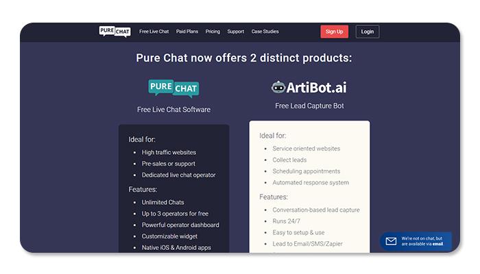 phần mềm ứng dụng live chat purechat