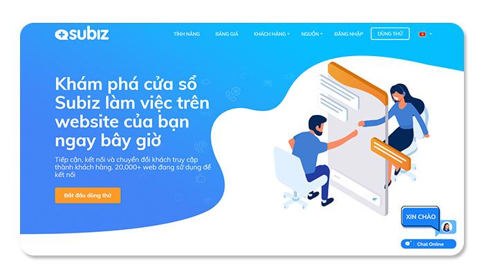 phần mềm ứng dụng live chat Subiz