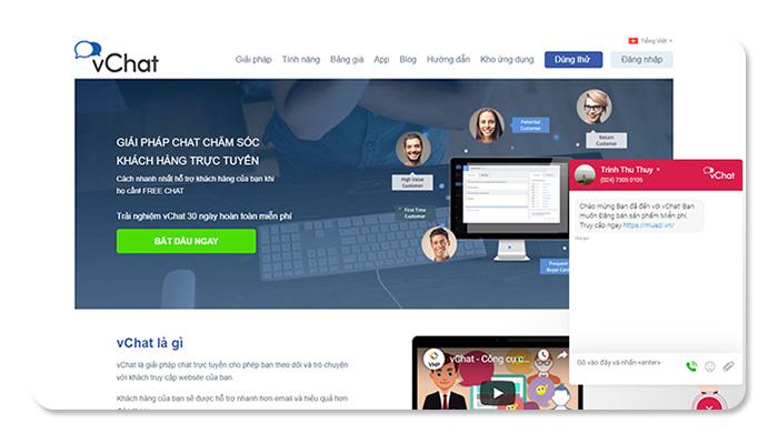 phần mềm ứng dụng live chat vChat