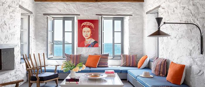 phòng khách phong cách Hy Lạp