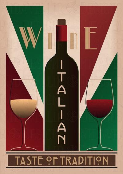poster rượu vang ý