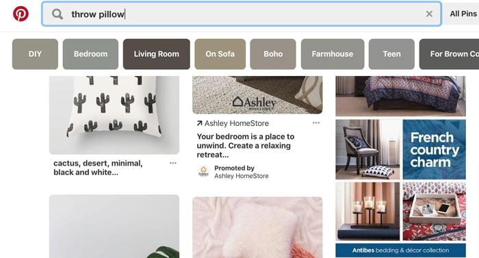 quảng cáo xuất hiện trong các kết quả tìm kiếm Pinterest