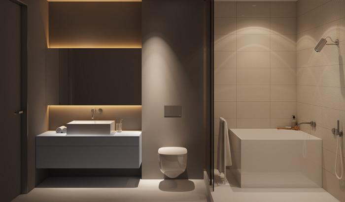 sử dụng bồn tắm vuông phong cách nhật bản