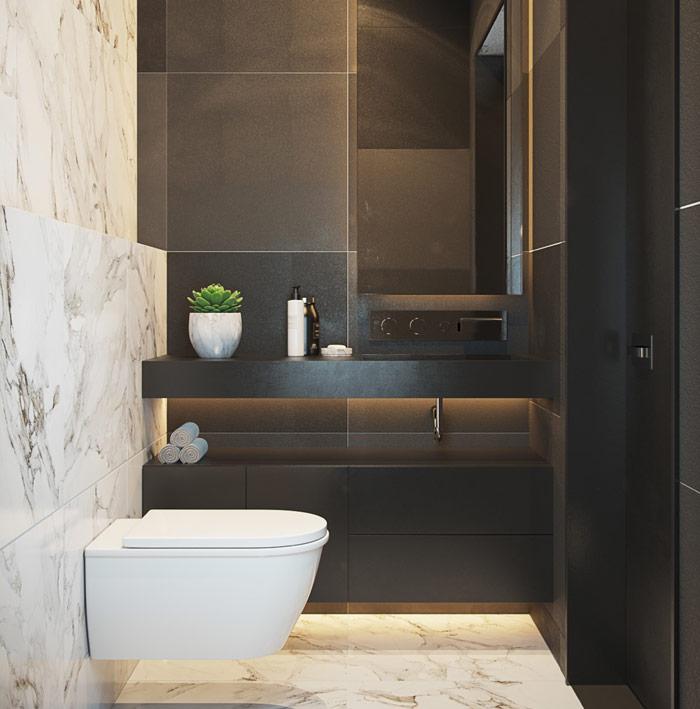 sử dụng tông màu đen cho nhà tắm tối giản