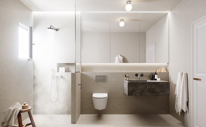 sử dụng tông màu trung tính cho thiết kế nhà tắm