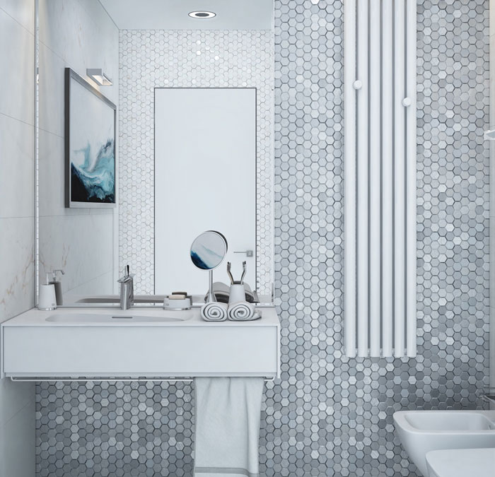 sử dụng tông màu xám chủ đạo cho nhà tắm