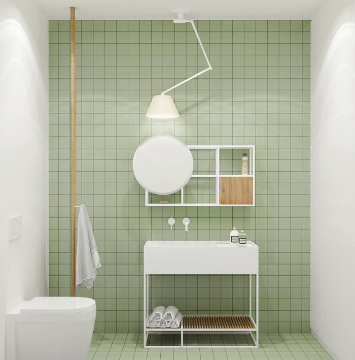 sử dụng tông màu xanh cho nhà tắm