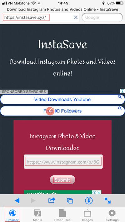 tải video hình ảnh instagram trên điện thoại