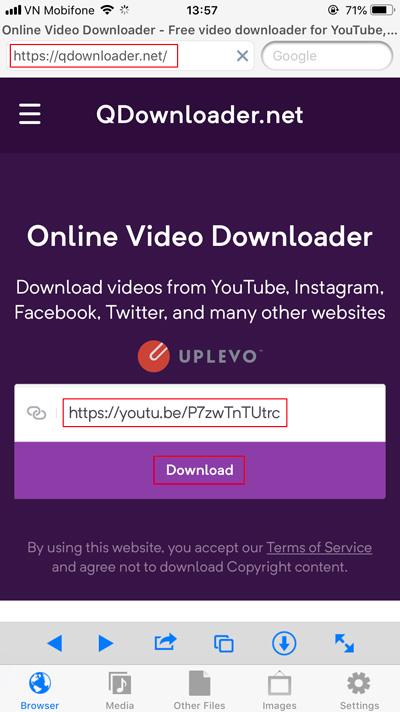 tải video từ Youtube về điện thoại