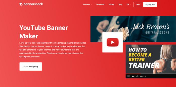 tạo ảnh bìa Youtube bằng Bannersnack
