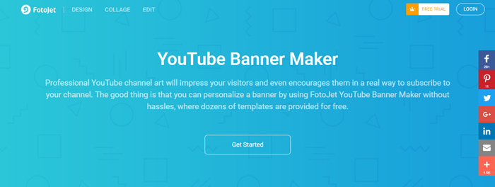tạo cover Youtube bằng Fotojet