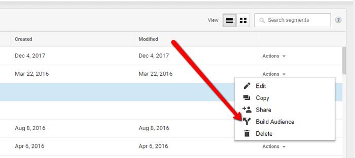 tạo danh sách remarketing trên Google Analytics